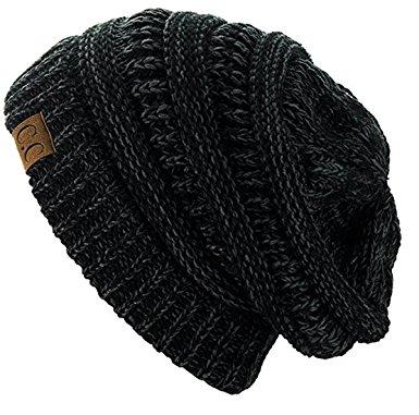 c.c trendy warm chunky soft stretch cable knit beanie skully (2 tone bkcvndi