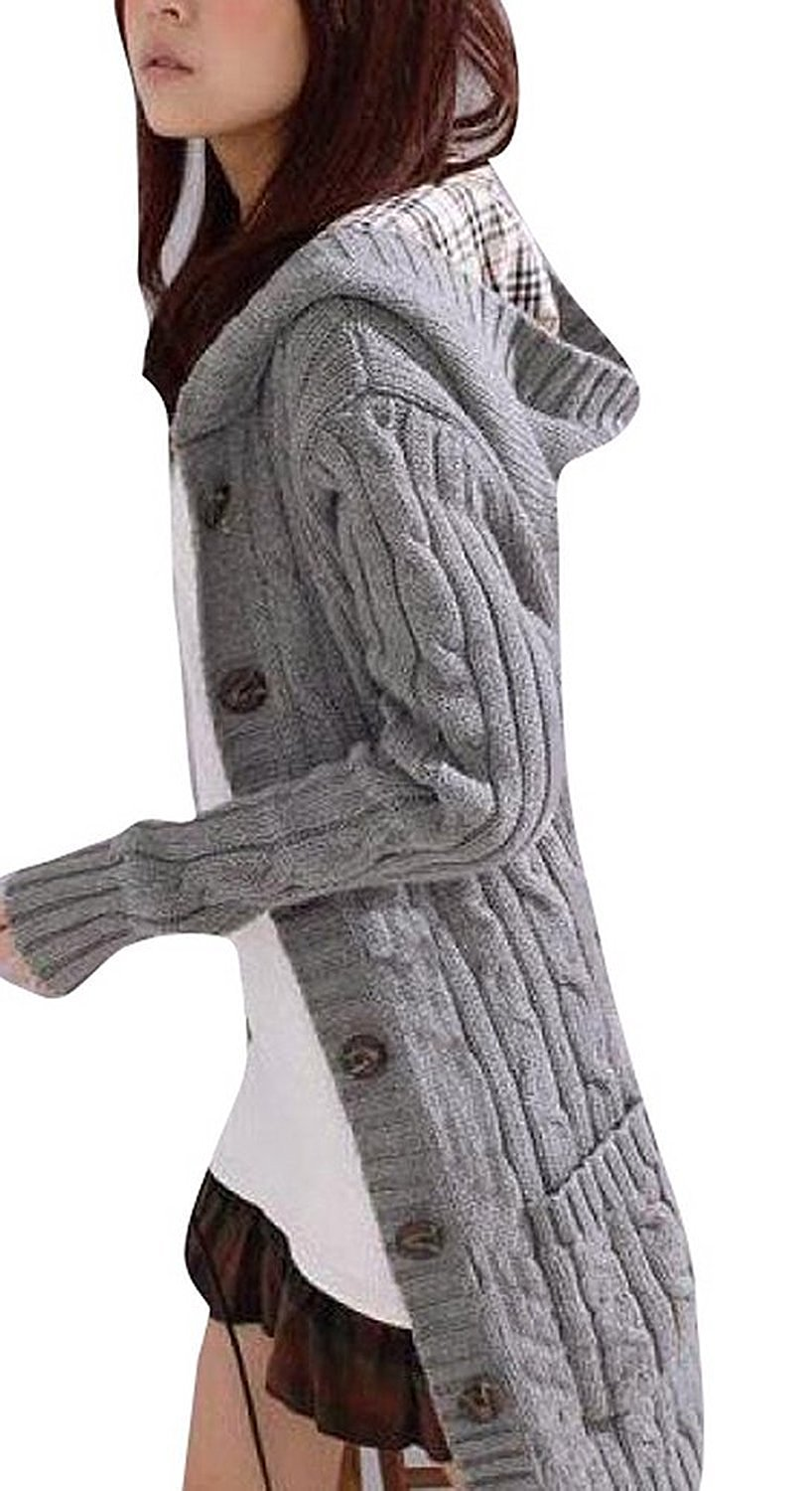 cable knit cardigan minetom womens cable knitted womens grandpa sweater with button long arm  hooded xzujhkg