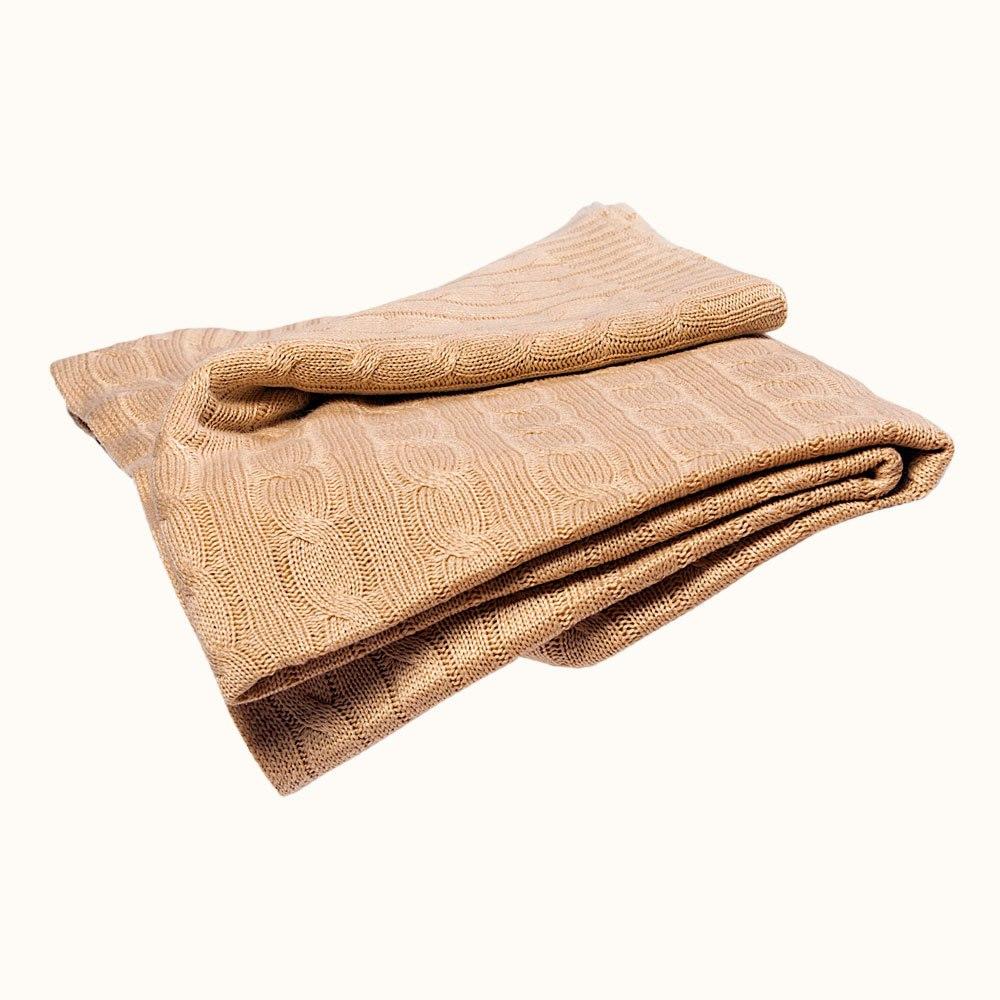 cashmere blanket cashmere cable knit travel blanket - tan ... shbjeci