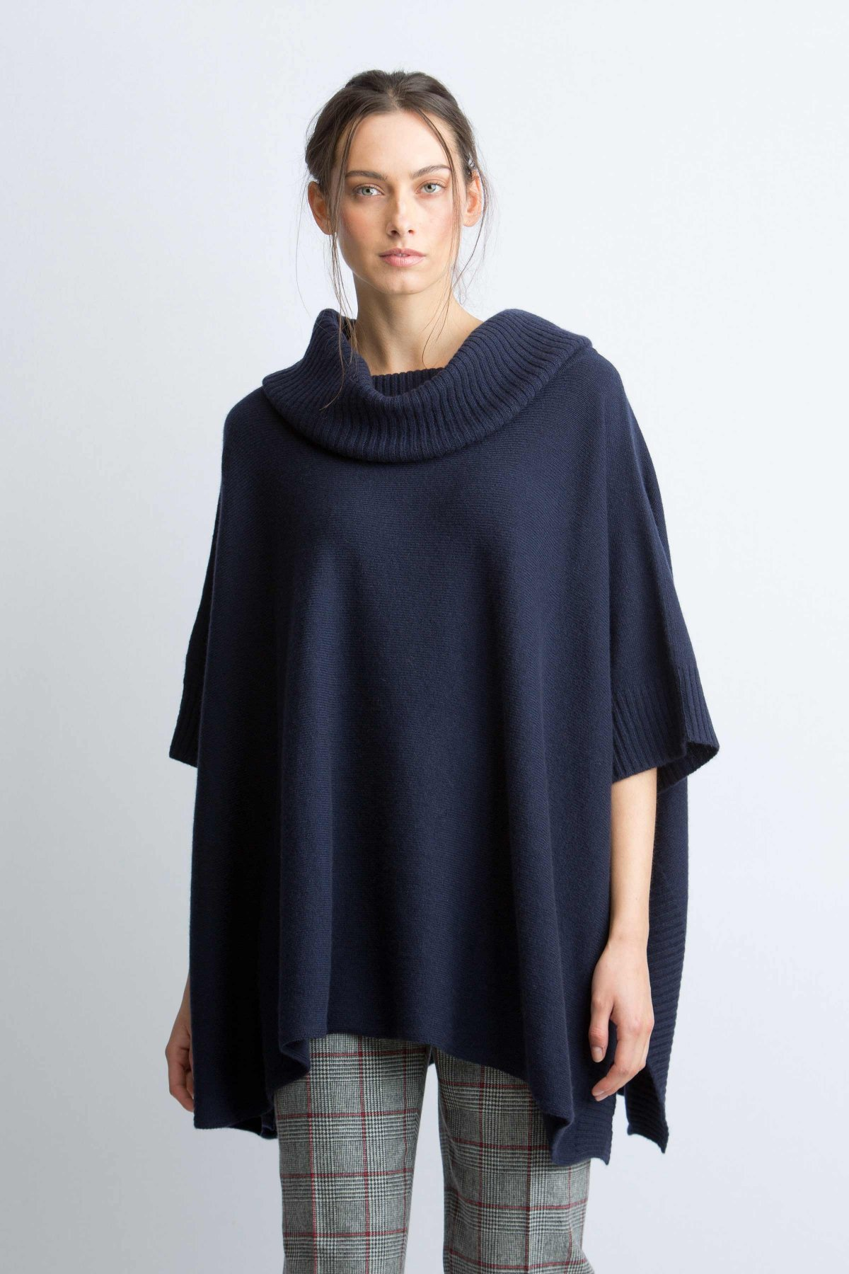 Cashmere poncho cashmere navy cowl neck blanket poncho in navy justqsx