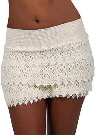 cotton natural womenu0027s lace crochet shorts beach miniskirts (small, beige) mvdcnzz