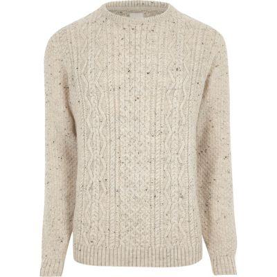 cream flecked cable knit jumper bmruatw
