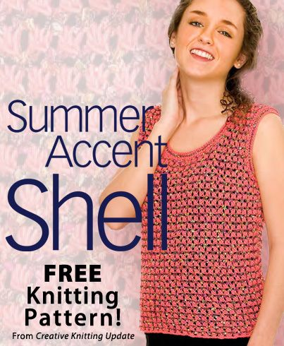 Creative Knitting Patterns summer accent shell download from creative knitting newsletter. click on  the photo cpjnoes