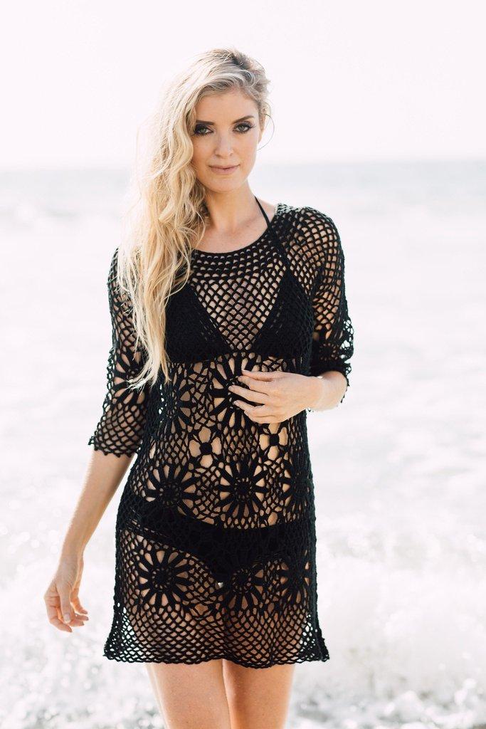 crochet beach cover up - boho crochet tunic black jvaldi kzaiqut