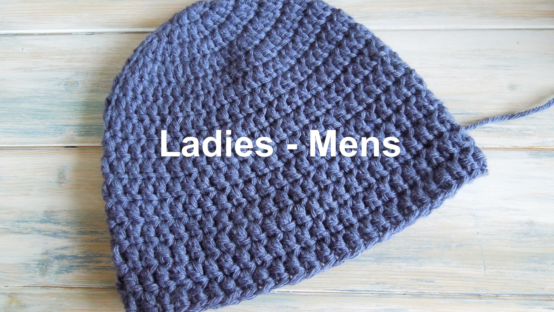 Crochet Beanie Pattern (crochet) how to - crochet a simple beanie for ladies - mens size dhsgfmk