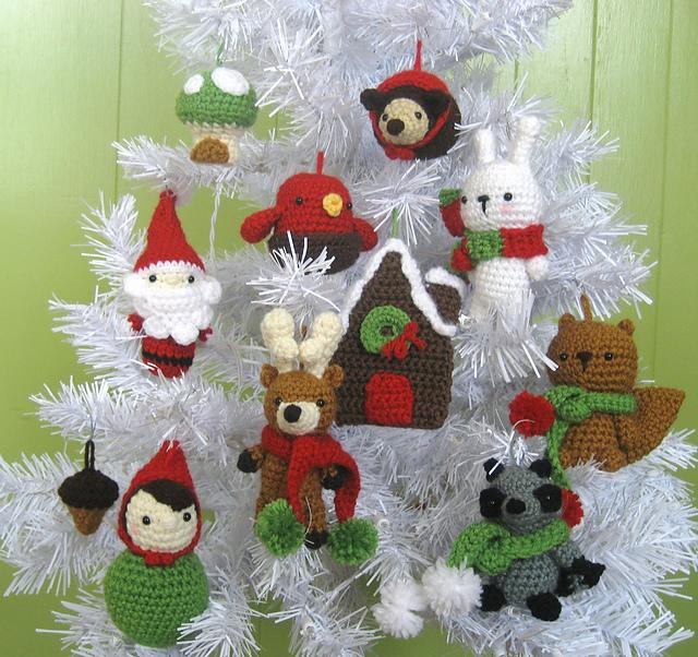 crochet christmas ornaments ravelry: woodland christmas ornament crochet pattern set pattern by amy  gaines bxmabkj