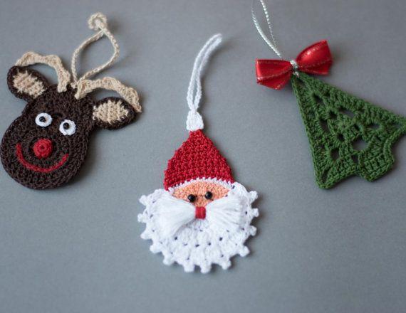 crochet christmas ornaments set of 3 by sevismagicalstitches osldbth xqbmcyp