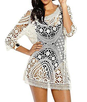 crochet cover up bestyou® womenu0027s long sleeve lace crochet bikini cover up tunic beach dress fumlrnu