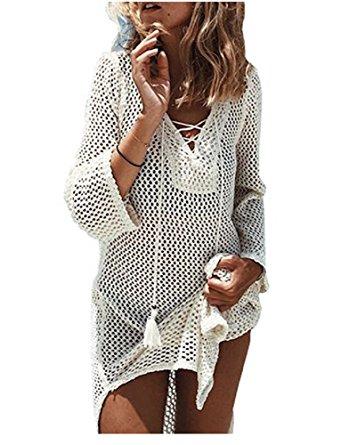 crochet cover up nfashionso womenu0027s fashion swimwear crochet tunic cover up/beach dres,beige2 bkssnzv