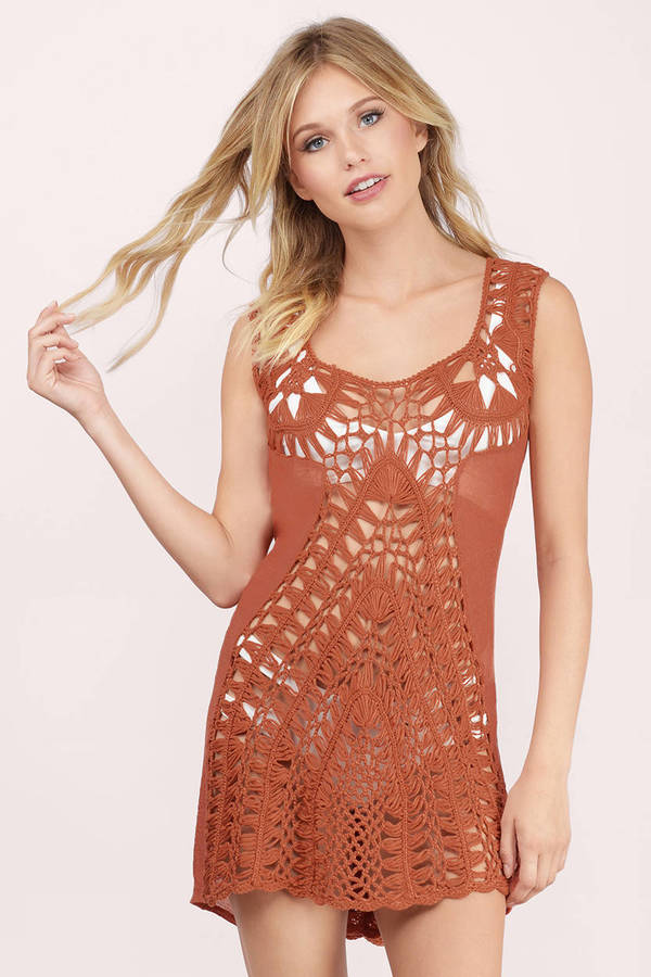 crochet cover up rust cover up - orange dress - crochet dress - pool dress - bminflr