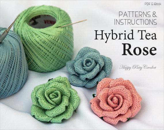 crochet flower pattern - crochet rose pattern - crochet pattern - brooch mnzcesu