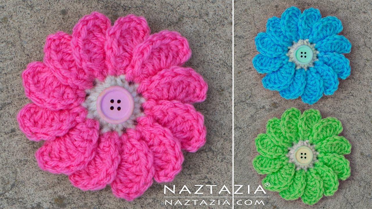 crochet flowers diy tutorial - learn how to crochet flowing flower - flowers with petals stnrbtc