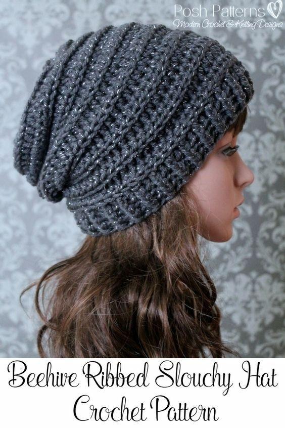 crochet hats crochet pattern - easy crochet pattern - crochet slouchy hat pattern - pnuceub
