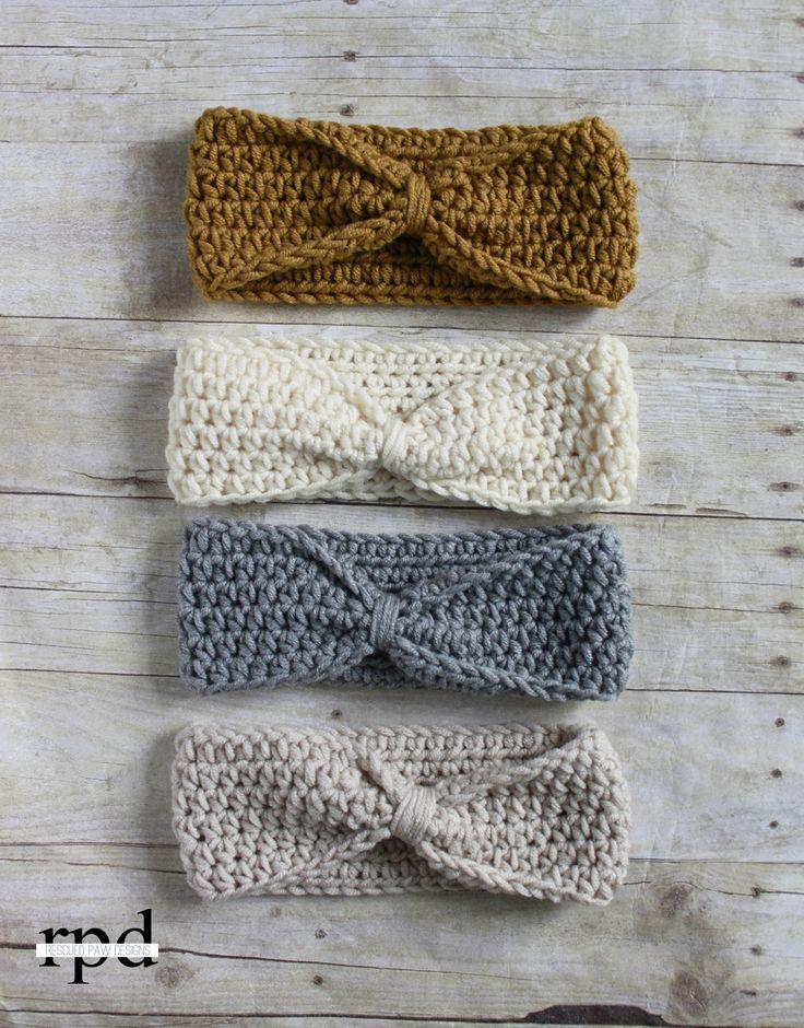 crochet headbands knotted headband crochet pattern - multiple sizes | headband crochet, knot  headband lmrhqys