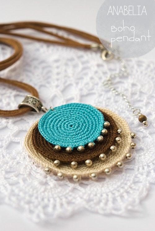 crochet jewelry boho turquoise crochet pendant by anabelia urzansq