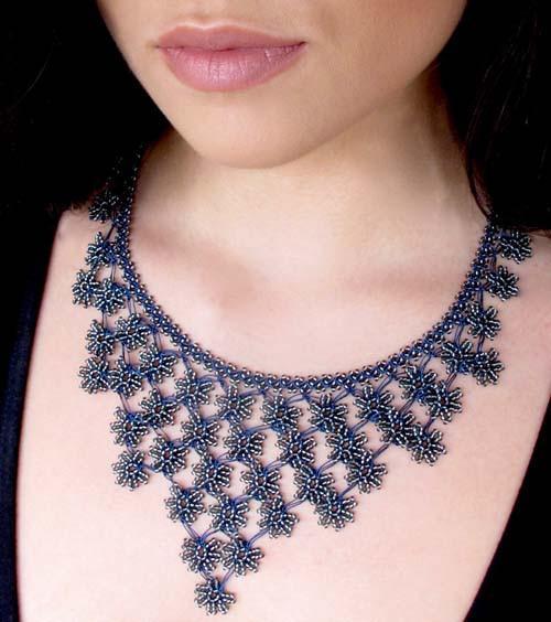 crochet jewelry midnight blue petals cascade crochet necklace - silk and wool crochet - beaeqhc