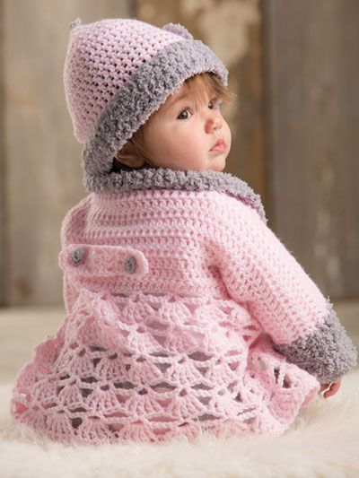 crochet kids this adorable pink sweater features a plush collar and cuffs crocheted in a madktby