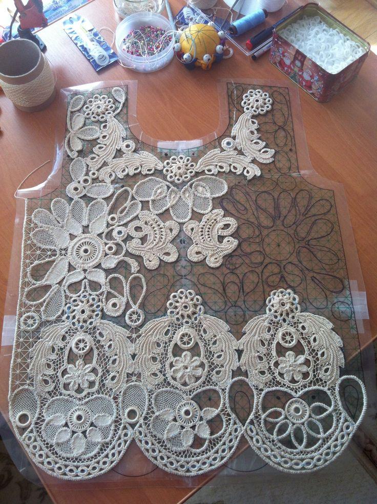 crochet lace crochet cord lace with irish crochet motifs and needle-weaving: keronxt