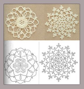 Crochet motifs note to self- crochet these with huge hook, would look great really big. biyfcgy