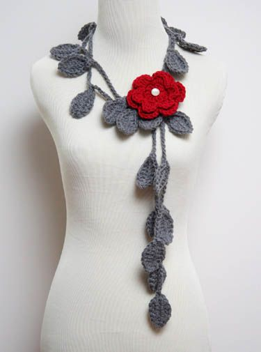 crochet necklace crocheted leaf necklace with flower brooch/scarf bhijbld