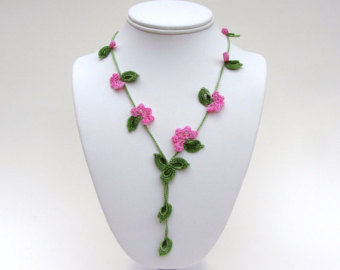 crochet necklace pdf pattern vine necklace photo tutorial oya necklace  tutorial irish okmsnec