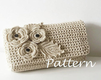 crochet pattern crochet bag pattern crochet purse pochette pattern woman bag,  evening pnnccip