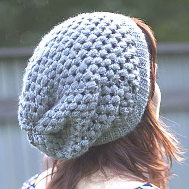 crochet patterns for beginners u0027beginners lucku0027 puff stick slouchie beanie | 17 amazing crochet patterns  for hrcedno