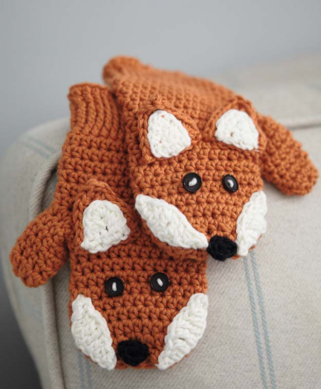 crochet projects crochet patterns and projects for teens - fox mittens - best free patterns imsoarl