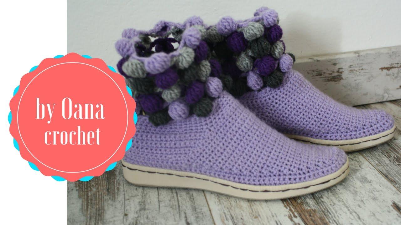 crochet shoes/slippers on a rubber sole 1- by oana - youtube xndvnvu
