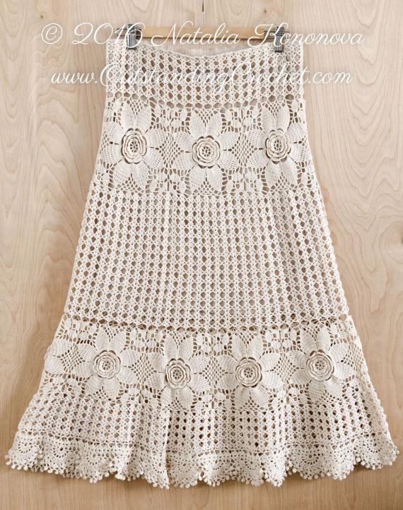 crochet skirt pattern - country fair - tiered, long, maxi, boho chic, eulutfj