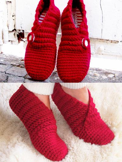 Crochet Slippers red rib basic slippers orkkxzm