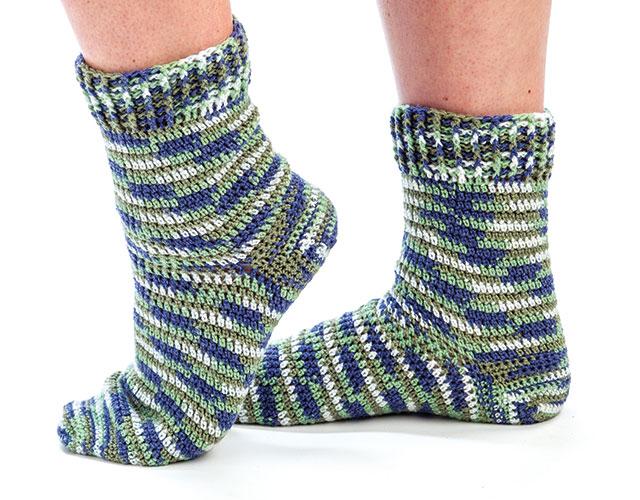 crochet sock pattern self- striping toe-up socks gcounnz