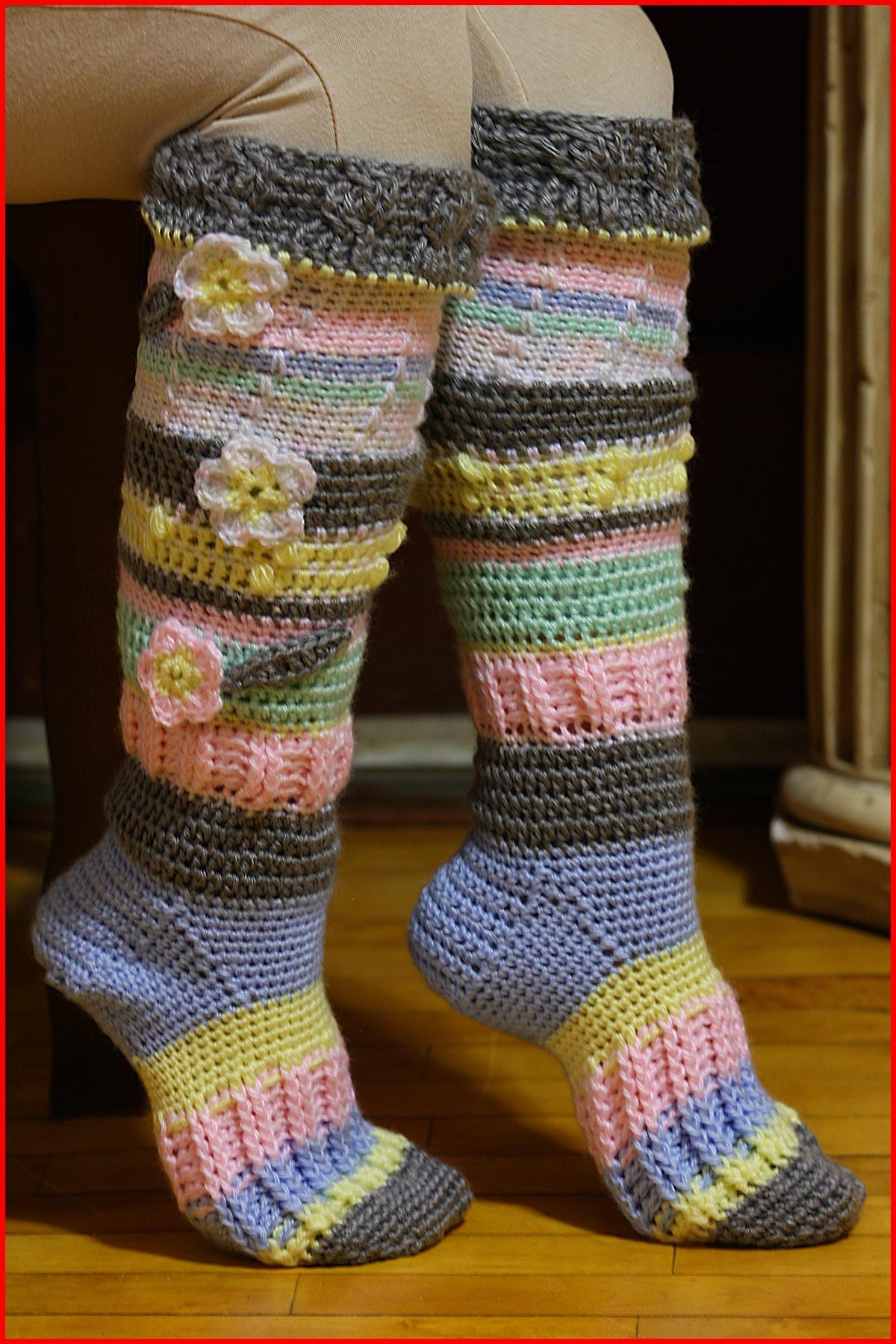 crochet socks knee high socks fsdktey