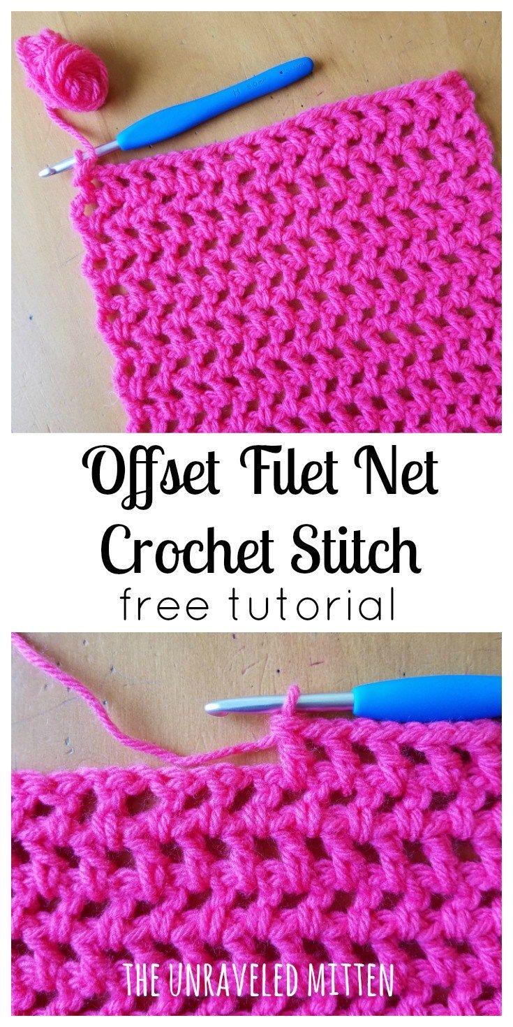 crochet stitches offset filet net stitch | free crochet tutorial | the unraveled mitten | cgtmhdb