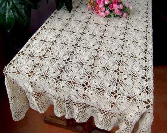 crochet tablecloth 100% handmade table cover, crochet pattern bowknot table topper  rectangular, oblong crochet yzfsgds
