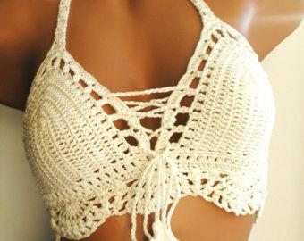 crochet top, cream color, crochet bikini top, crochet swimsuit, knitted bikini  top ruvfjom