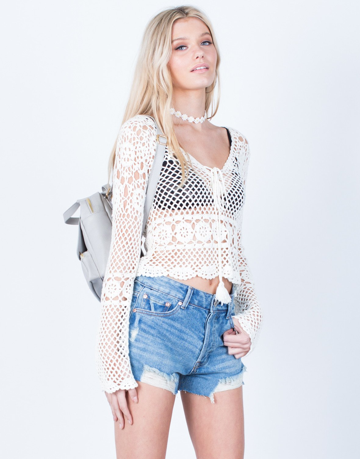 crochet top ... front view of crochet netted top ... ondifje
