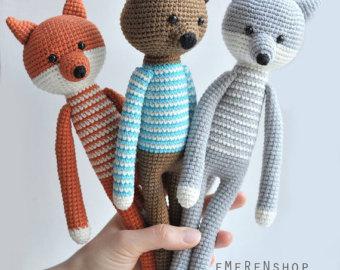 crochet toys woodland animals. cute fox, wolf, bear. stuffed toys. amgurumi animals. wlmvutf