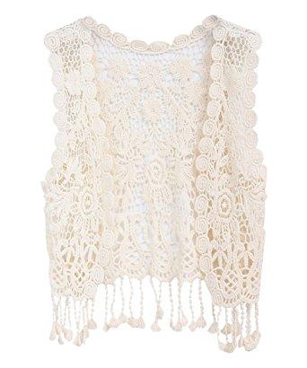 Crochet Vest zhuannian little girlu0027s crochet vest with fringe beige dpufvzs
