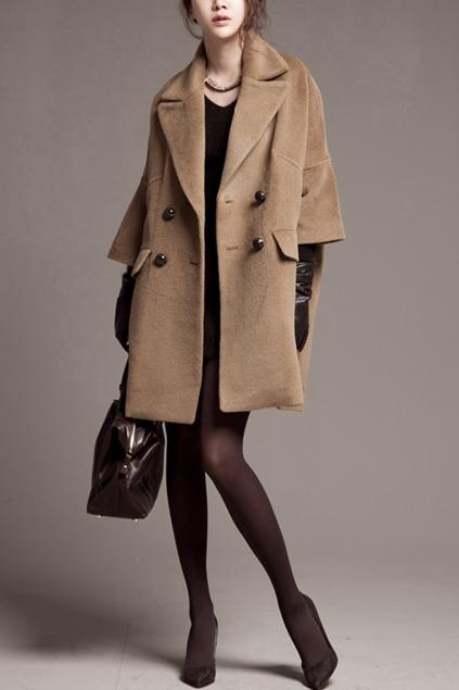 cropped sleeve oversize cashmere coat - oasap.com xpzqcos