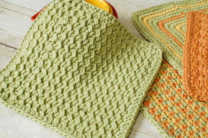 crunchy stitch free crochet dishcloth pattern msfelon