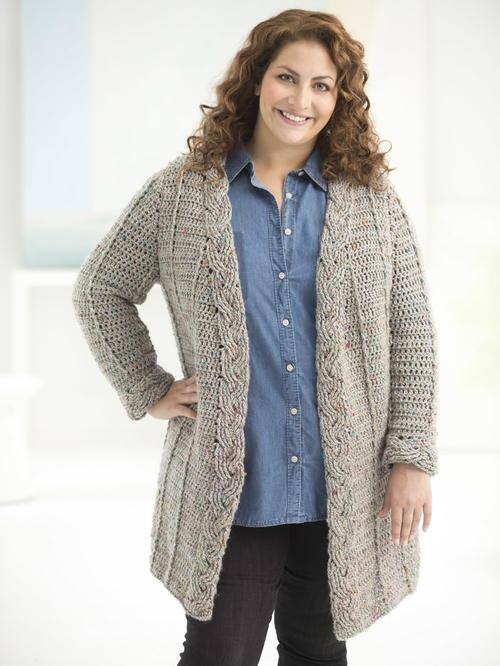 curvy girl cable crochet cardigan qvjrnmt