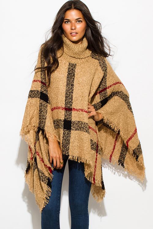 cute cheap camel beige giant checker plaid fuzzy boho knit poncho sweater dctknnv