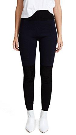 diane von furstenberg womenu0027s knit leggings, black/alexander navy, small wjxqdin