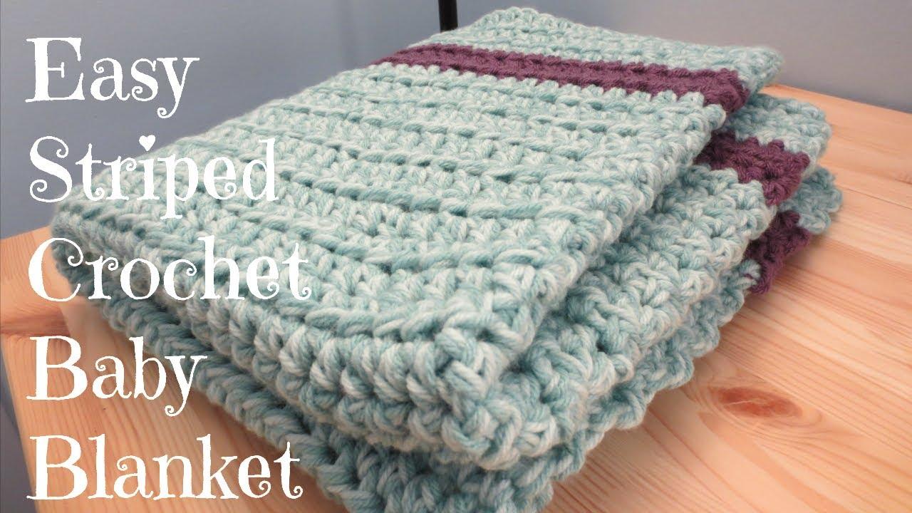 easy crochet baby blanket easy striped crochet baby blanket - youtube kyqgjsd