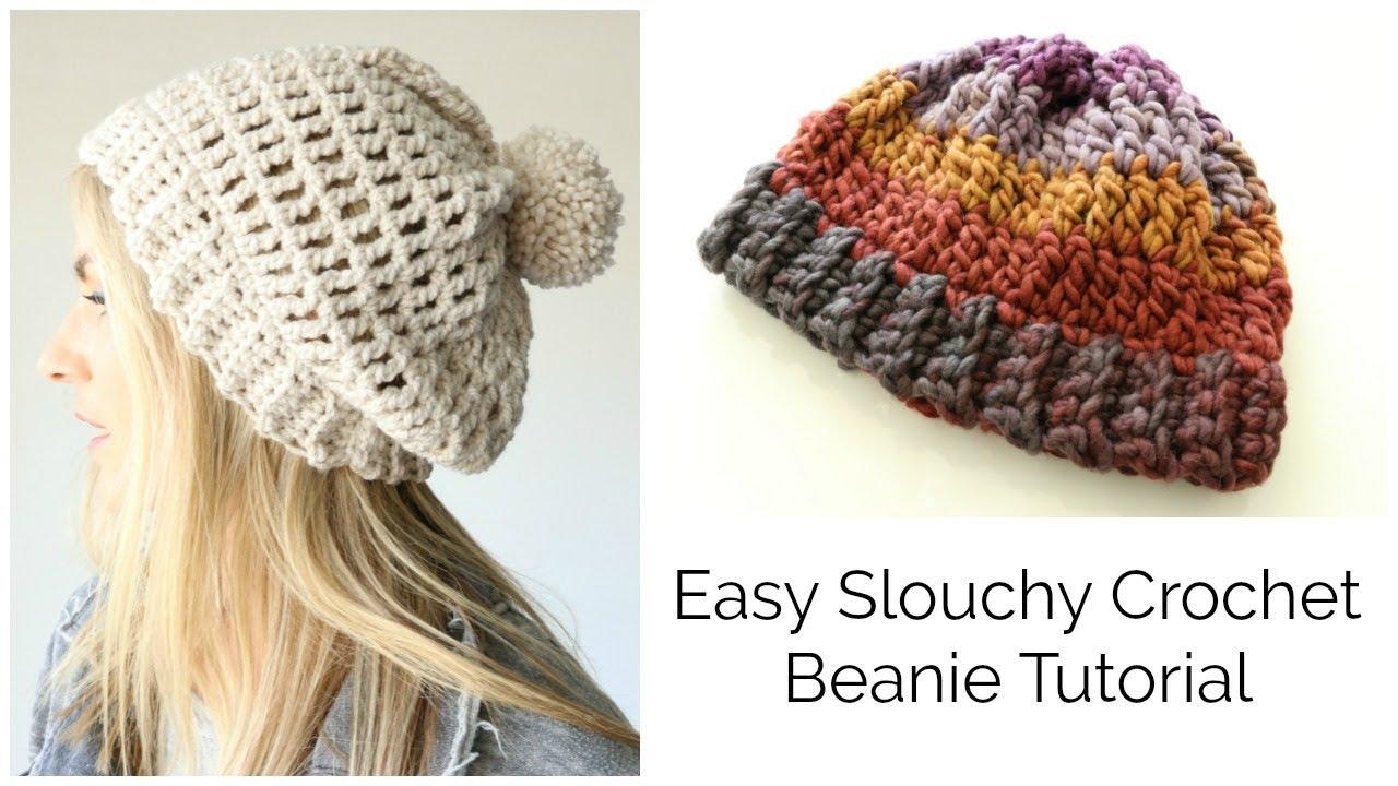 easy slouchy crochet beanie tutorial - treble stitch ziwtykk