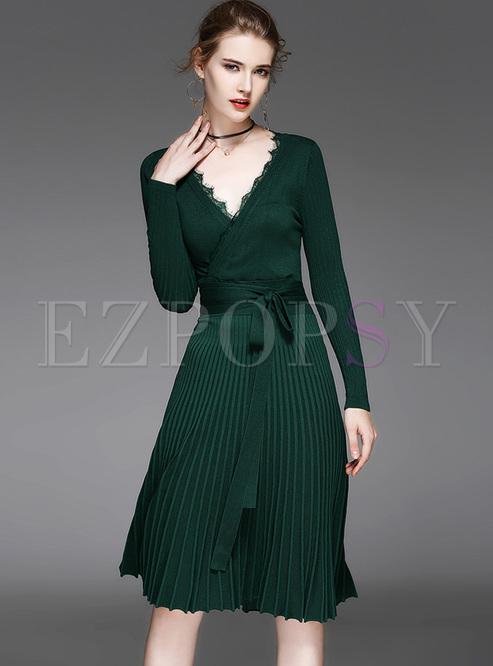 elegant falbala v-neck knitted dress wlsuwrx