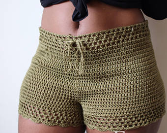 esme high waist crochet shorts ugkucrw