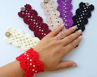 everyday bracelet, crochet bracelet, boho bracelet, gypsy chic bracelets,  hippie bracelet, mhrlfbp