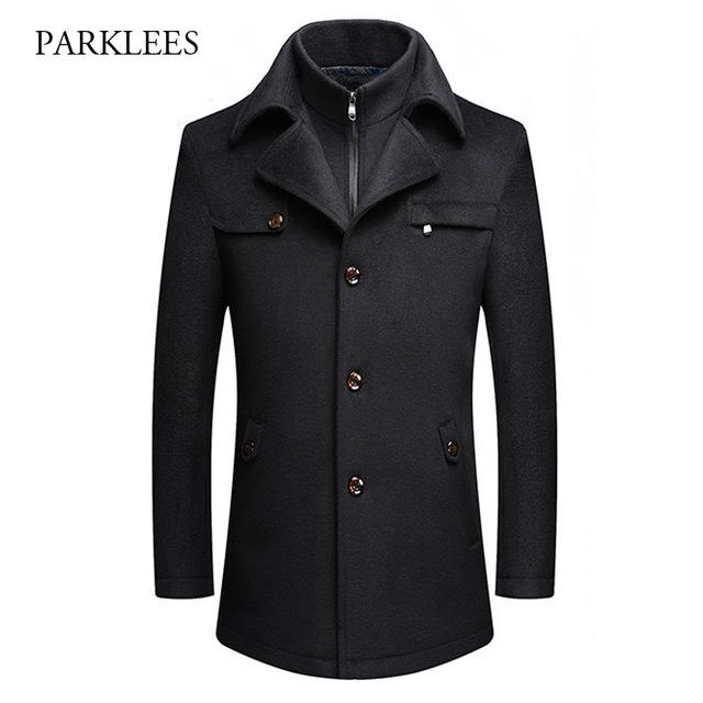 fake two pieces cashmere coat men 2017 winter mens wool coat jacket fashion xsjaufg
